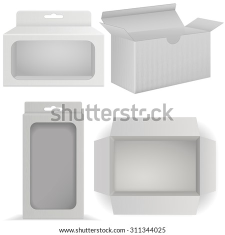 Package Cardboard Box with transparent window. Open Carton box. Top view. Vector illustration isolated on white background - stock vector