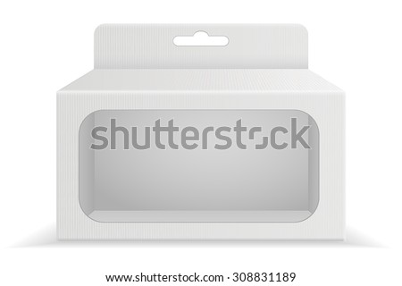 Package Cardboard Box with transparent window. Vector isolated - stock vector