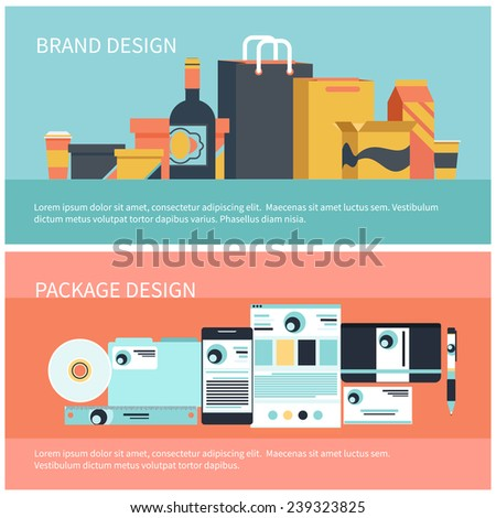 Package design and brand design, corporate identity template, company style in flat style. Pack container flask food and liquid icon set with shadow - stock vector