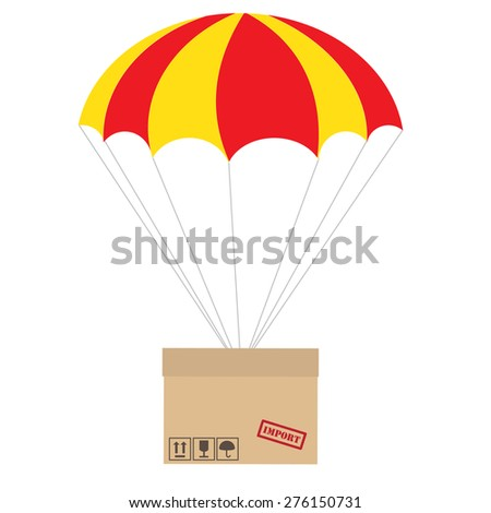 Package flying with parachute vector isolated. Delivery service. Air shipping concept - stock vector