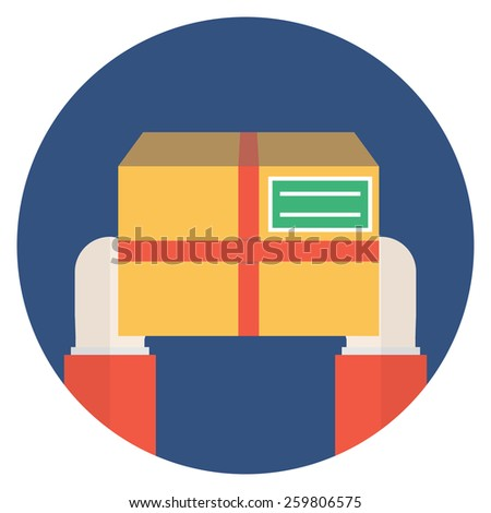 Package in hands. Flat vector style. - stock vector