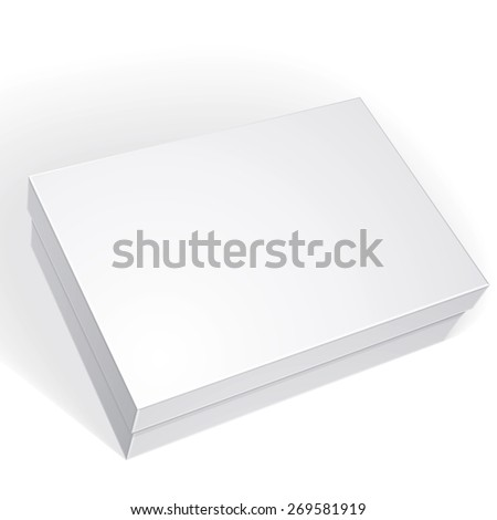 Package white box design isolated on white background, template for your package design, put your image over the box in multiply mode, vector illustration eps 8. - stock vector