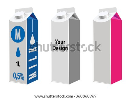 Packages of different kinds of dairy products. Vector illustration.