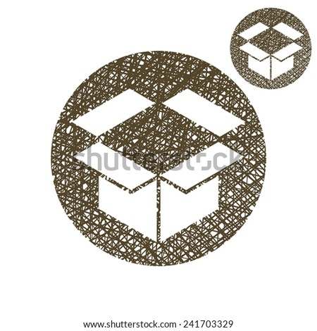 Packaging box vector simple single color icon isolated on white background with sketch lined hand drawn texture. - stock vector