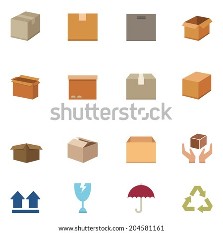Packaging boxes icons vector eps10 - stock vector