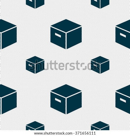 packaging cardboard box icon sign. Seamless pattern with geometric texture. Vector illustration - stock vector