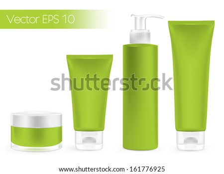 Packaging containers green  color, package cream, Beauty products set. Vector  - stock vector