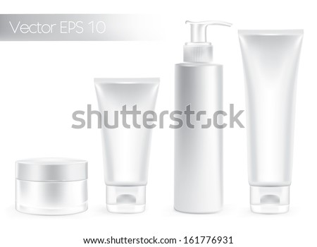 Packaging containers white  color, package cream, Beauty products set. Vector  - stock vector