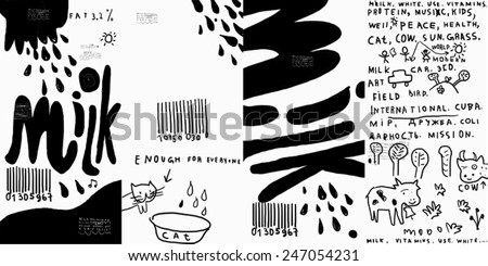 Packaging Design for mass production of milk  - stock vector