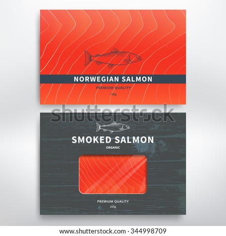 Packaging design template for smoked salmon and frozen. Vector - stock vector