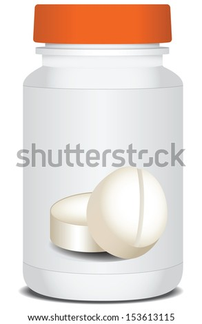 Packaging for medicines with a red cover. Vector illustration. - stock vector