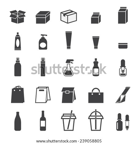 packaging icon set - stock vector