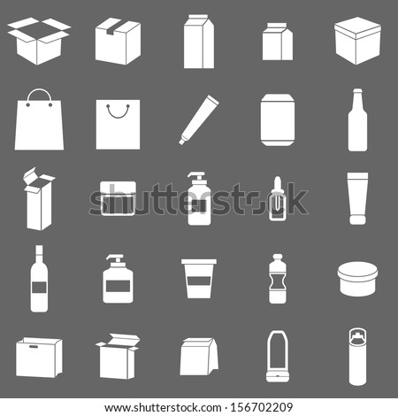 Packaging icons on gray background, stock vector - stock vector