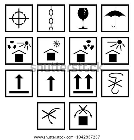 Packaging Pictorial Marking Handling Goods Iso Stock Vector