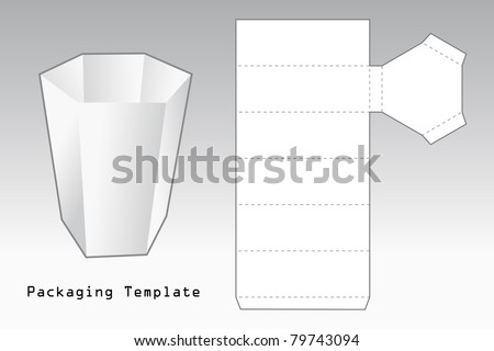 packaging template a case with six sides - stock vector
