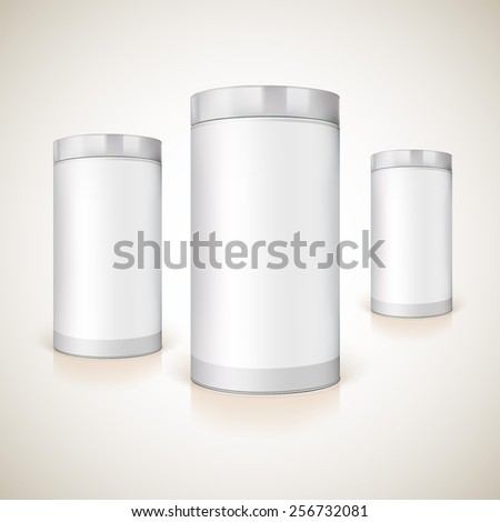 Packaging with metal cover for the presentation of the product. Vector mock-up for your design. - stock vector
