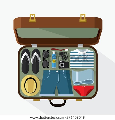 Packed suitcase for summer holiday - vector illustration - stock vector
