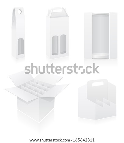 packing box for bottle set icons vector illustration isolated on white background - stock vector