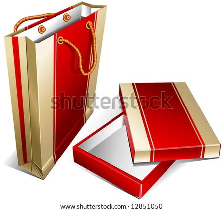Packing package with handles and paper box in some color, a shopping illustration - stock vector