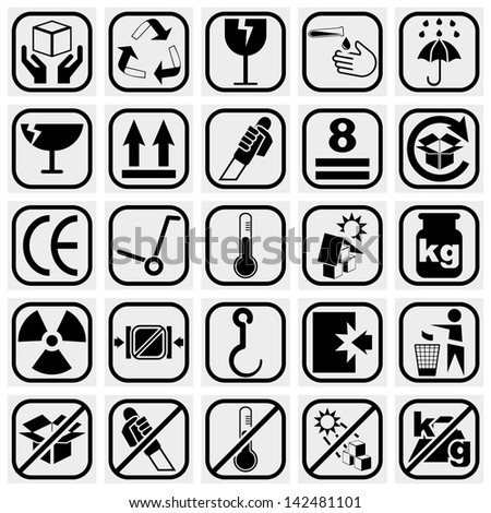 Packing & Shipping vector icons set on gray. - stock vector