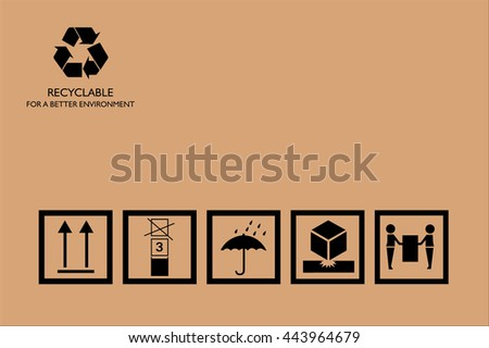 Packing symbols on cardboard - stock vector