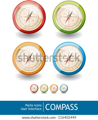 Packs icons user interface for mobile devices and web applications_COMPASS - stock vector