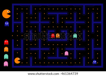 Pacman game with ghosts, maze and user interface. Video game Vector illustration - stock vector