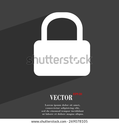 Pad Lock  icon symbol Flat modern web design with long shadow and space for your text. Vector illustration - stock vector