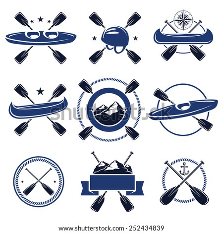 paddle labels and elements set. Vector - stock vector