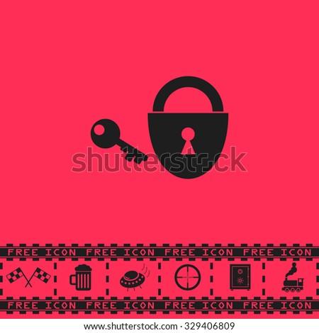 Padlock and key. Black flat vector icon and bonus symbol - Racing flag, Beer mug, Ufo fly, Sniper sight, Safe, Train on pink background - stock vector