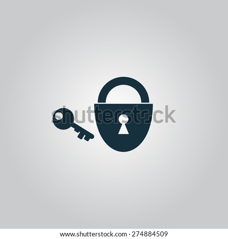 Padlock and key. Flat web icon or sign isolated on grey background. Collection modern trend concept design style vector illustration symbol - stock vector