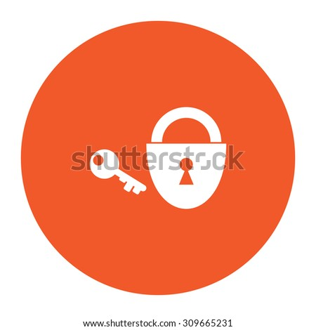 Padlock and key. Flat white symbol in the orange circle. Vector illustration icon - stock vector