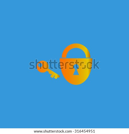Padlock and key. Orange vector icon isolated on blue background. Illustration trend symbol - stock vector