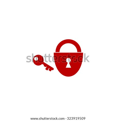 Padlock and key. Red flat icon. Vector illustration symbol - stock vector
