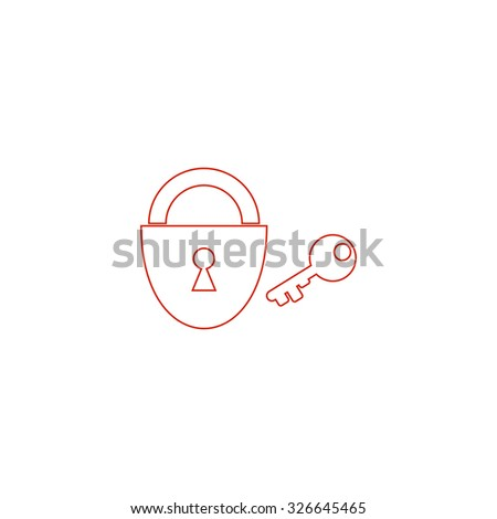 Padlock and key. Red outline vector pictogram on white background. Flat simple icon - stock vector