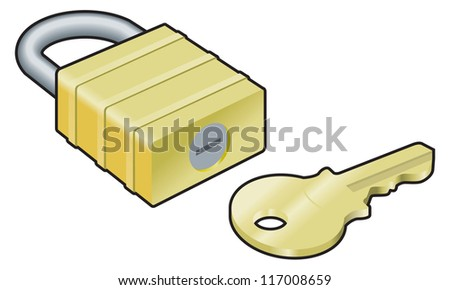 Padlock and key vector illustration on white background