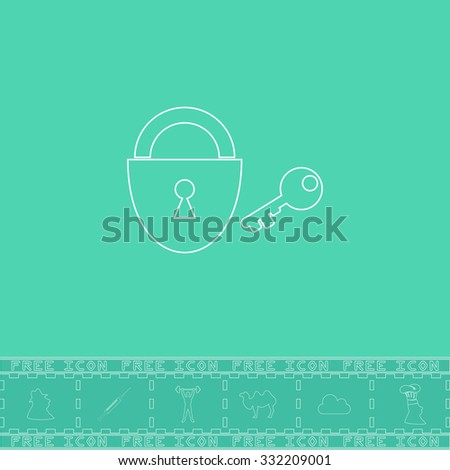 Padlock and key. White outline flat symbol and bonus icon. Simple vector illustration pictogram on green background - stock vector