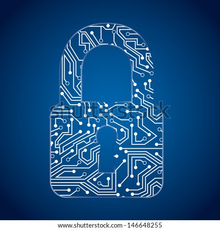 padlock circuit over blue background vector illustration  - stock vector