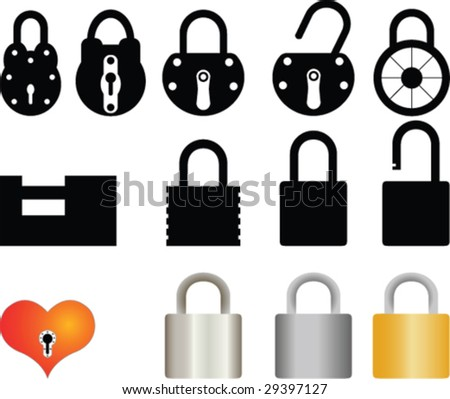 Padlock collection - stock vector