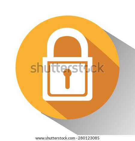 Padlock design over white background, vector illustration. - stock vector