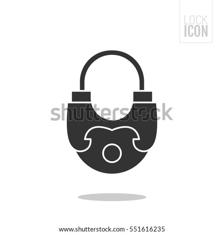 Padlock. Flat black icon lock. Object of safety, protection.
