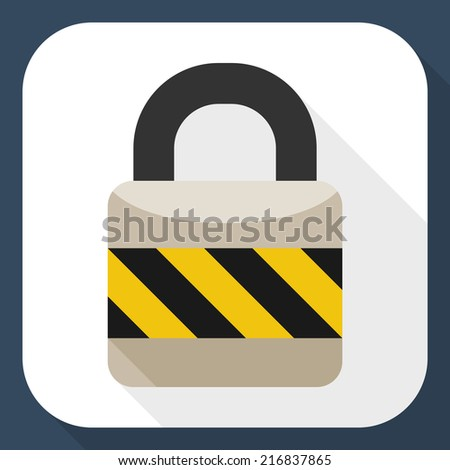 Padlock flat icon with long shadow