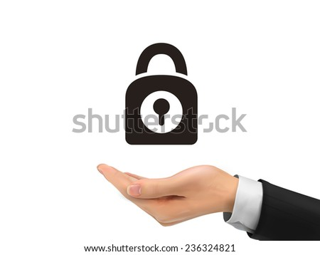 padlock icon holding by realistic hand over white background - stock vector