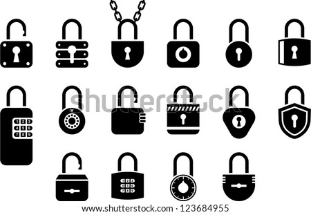 Padlock icons - stock vector