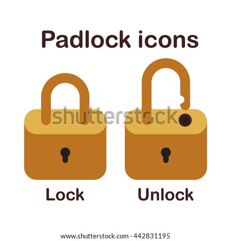Padlock icons isolated in white background