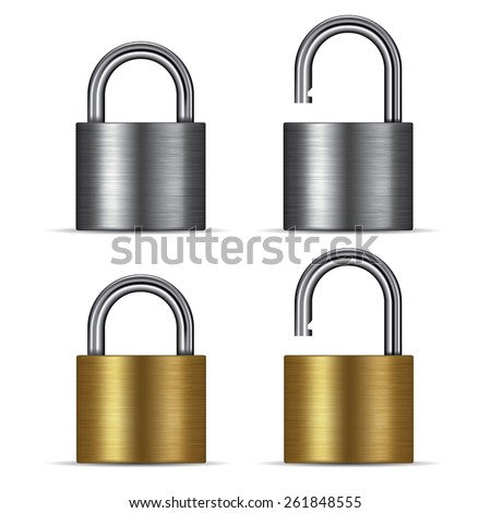 Padlock in the open and closed position, isolated on white. Vector illustration