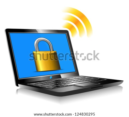 Padlock on laptop screen Laptop internet surfing protection - stock vector