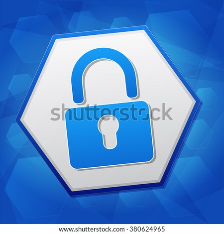 padlock sign over blue background with flat design hexagons, technical security concept symbol, vector