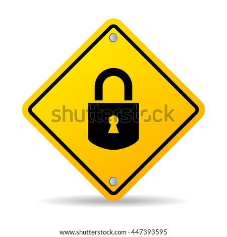 Padlock vector sign illustration isolated on white background - stock vector