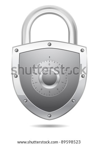 padlock with code - stock vector